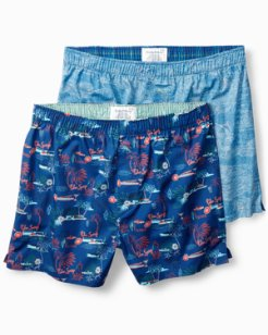 Big & Tall Marlin Scene & Palm Springs Woven Boxers - 2 Pack