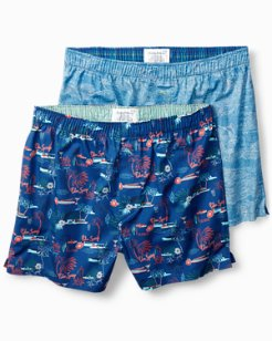 Marlin Scene & Palm Springs Woven Boxers - 2 Pack
