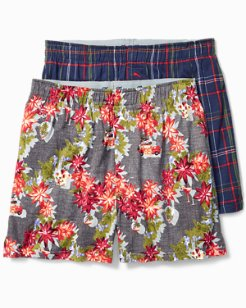 Holiday Plaid & Christmas Tree Boxers - 2-Pack