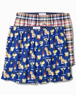 Holiday Cheer & Winter Plaid Flannel Boxers - 2-Pack