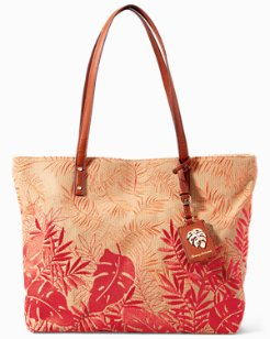 Palm Beach Embroidered Linen Tote