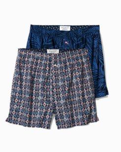 Midnight Leaves Woven Boxer Set