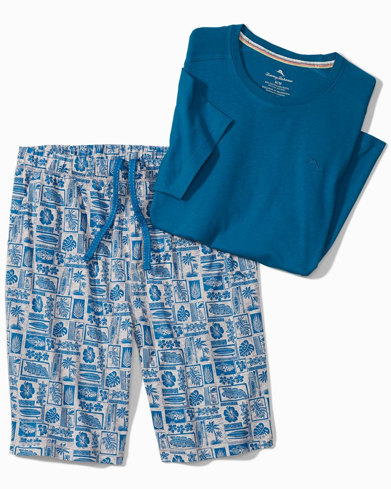 Main Image for Big & Tall Woodblock Heather Lounge Shorts Set