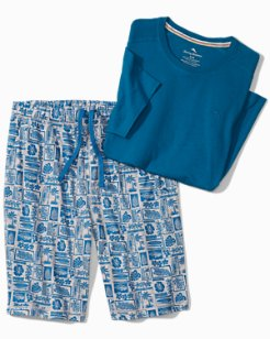 Big & Tall Woodblock Heather Lounge Shorts Set