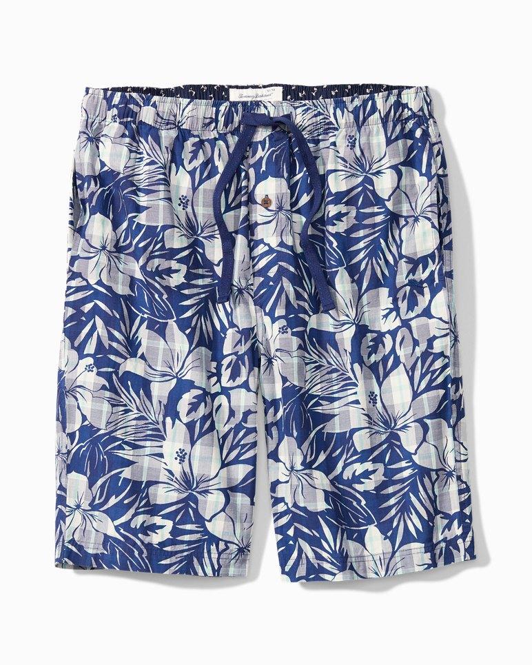 Main Image for Big & Tall Bahama Plaid Floral Woven Lounge Shorts