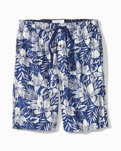 Big & Tall Bahama Plaid Floral Woven Lounge Shorts
