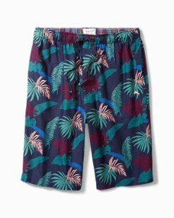 Ocean Leaves Flannel Lounge Shorts