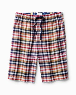 Winter Plaid Flannel Lounge Shorts