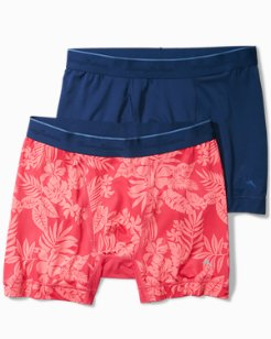 Aloha Print and Solid Tech Boxer Briefs - 2-Pack