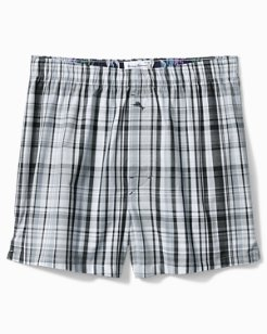Blue On Blue Plaid Woven Boxers