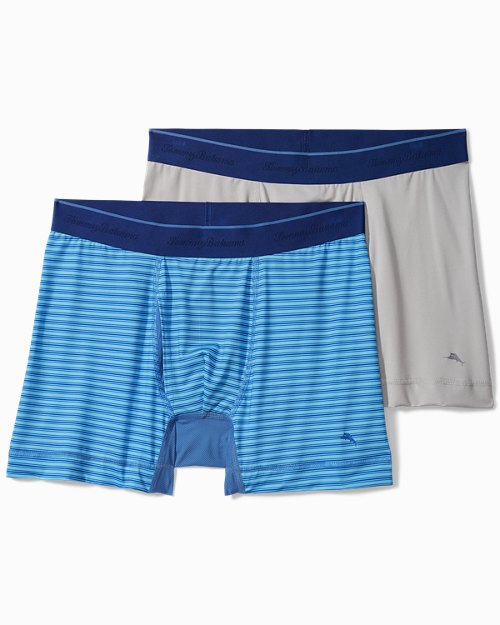 Striped and Solid Tech Boxer Briefs - 2-Pack