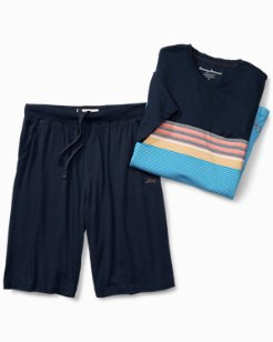 Stripe Knit Lounge Short Set