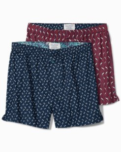 Palm Trees & Parrots Woven Boxers - 2-Pack