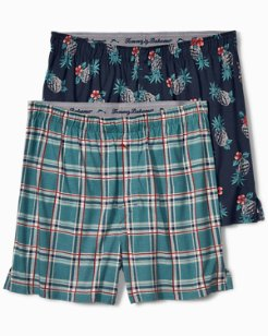 Line Plaid & Hibiscus Knit Boxers - 2-Pack