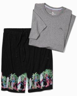 Surf Holiday Knit Lounge Short Set