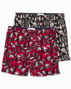 Big Leaves & Hula Holiday Woven Boxers - 2-Pack