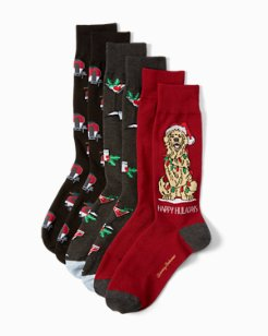 Happy Huladays Socks, 3-Pack Box Set