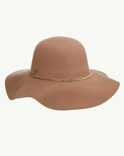 Chain Trim Felt Floppy Hat