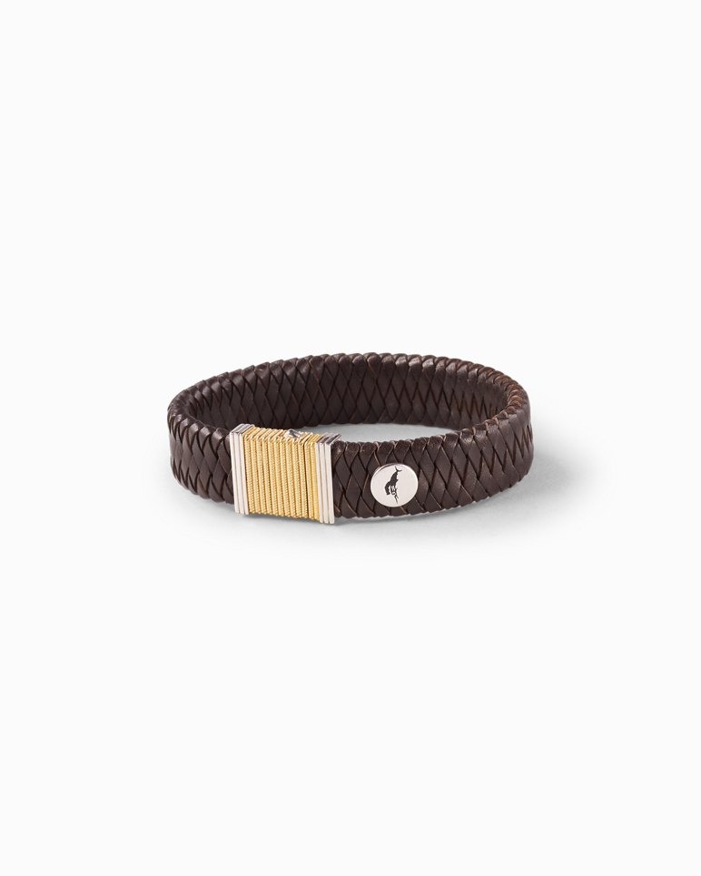 Main Image for Woven Leather & Gold-Plated Bracelet