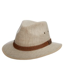 Cloth And Faux Suede Safari Hat