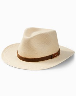 Big & Tall Panama Outback Hat with Leather Trim