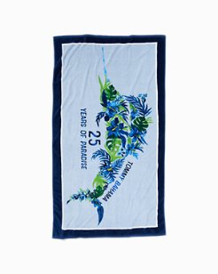 25th Anniversary Floral Marlin Reversible Towel