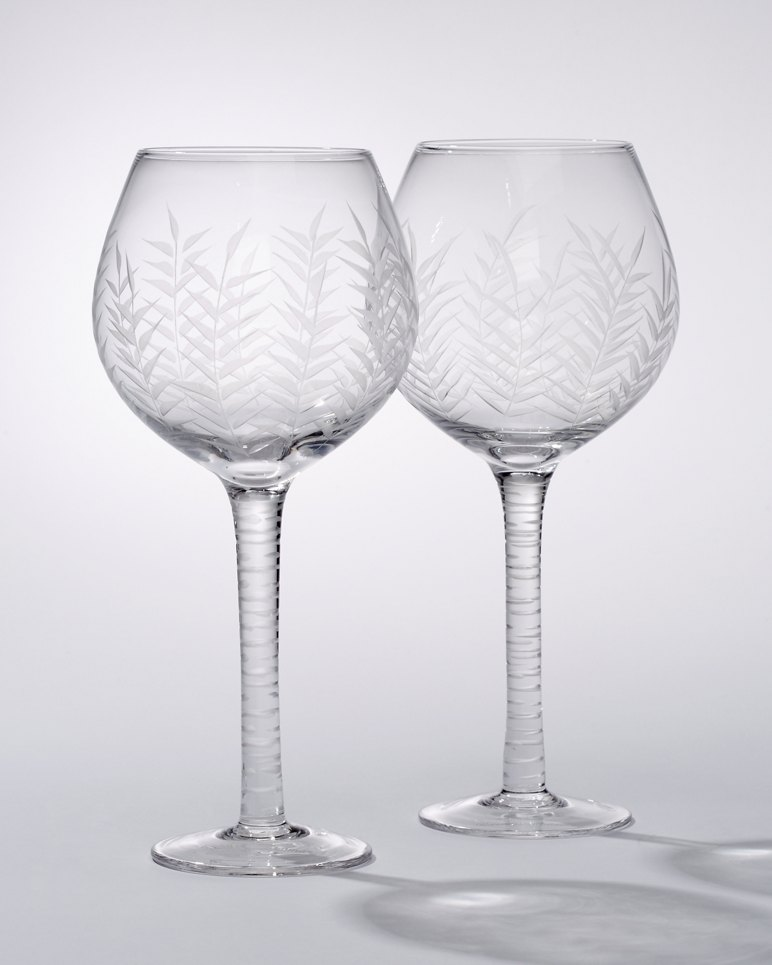 Etched Palm Red Wine Glasses Set Of 2