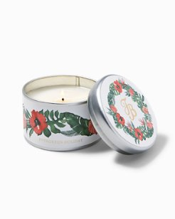 Evergreen Holiday Huladay Wreath Candle  Tin