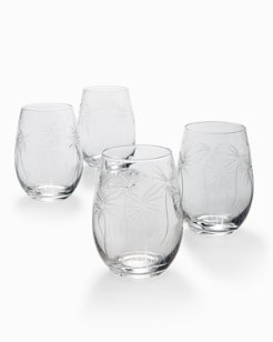 Swaying Palm Stemless Wine Glass Set - Set of 4