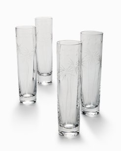Swaying Palm Champagne Glass Set - Set of 4
