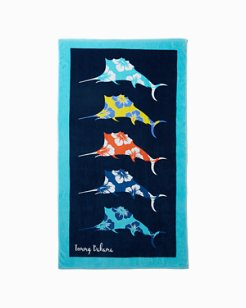 Floral Marlins Reversible Towel
