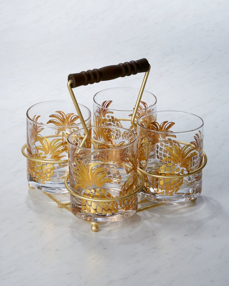 Superb Pineapple Glasses And Caddy Set