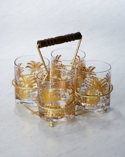 Pineapple Glasses and Caddy Set