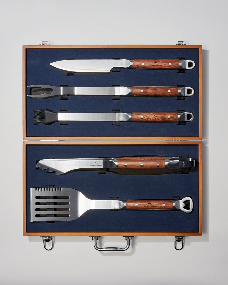 Bbq Grilling Tool Case Set With Rosewood Case