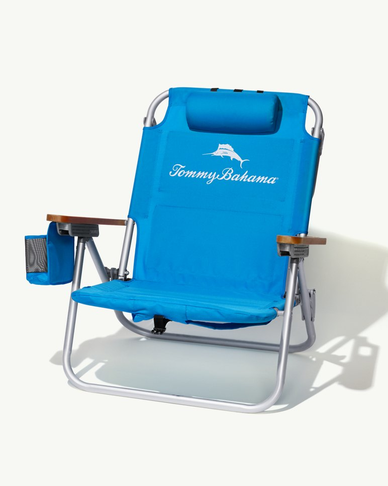 Solid Blue Deluxe Backpack Beach Chair
