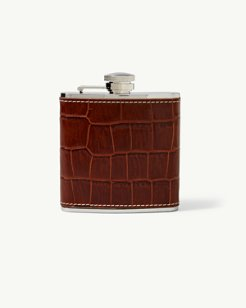Crocodile-Embossed Leather Flask