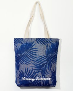 Palm Print Cotton Tote