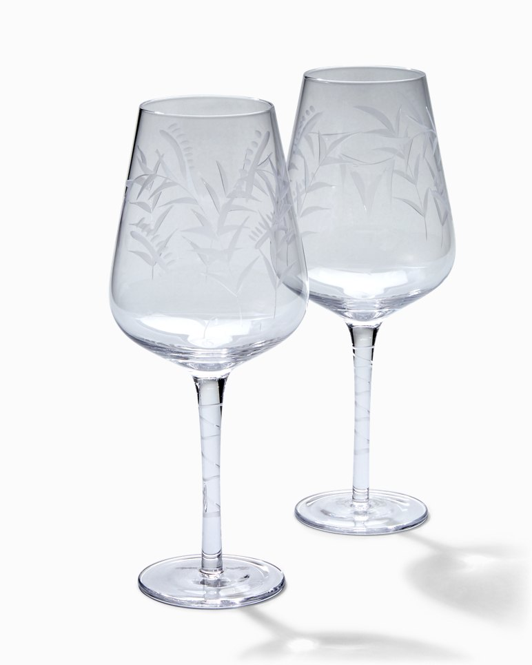 Main Image for Etched Fronds Red Wine Glass Set - Set of 2