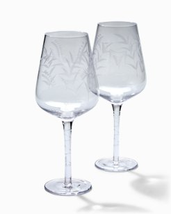 Etched Fronds Red Wine Glass Set - Set of 2