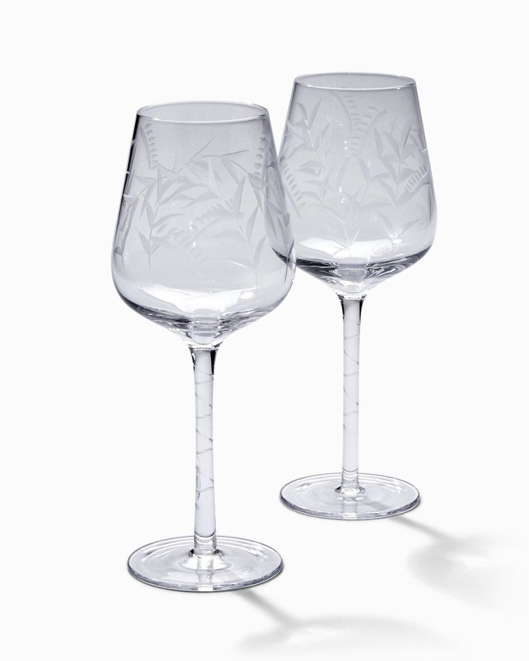 Main Image for Etched Fronds White Wine Glass Set - Set of 2
