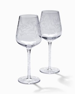 Etched Fronds White Wine Glass Set - Set of 2