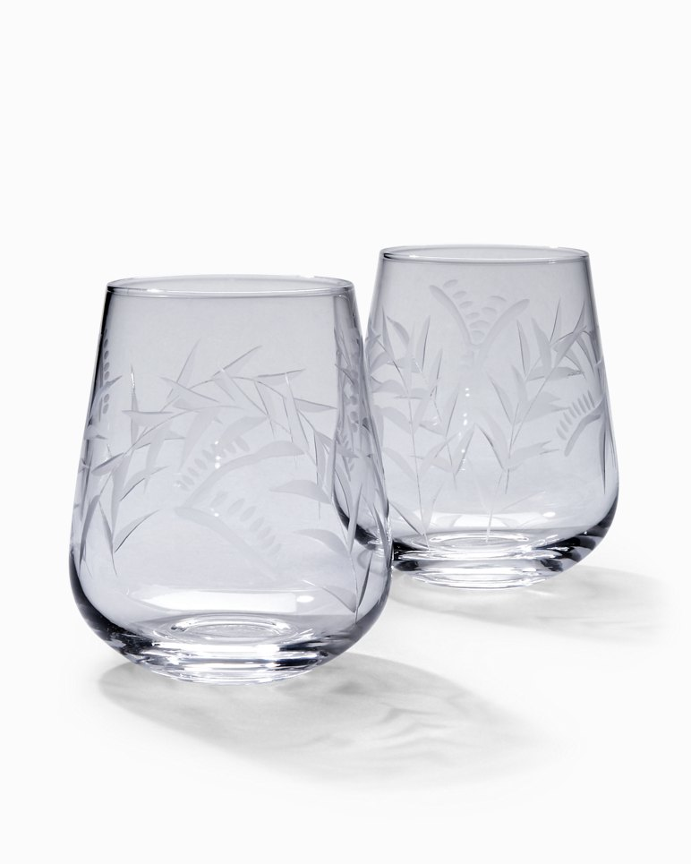 Main Image for Etched Fronds Stemless Wine Glass Set - Set of 2