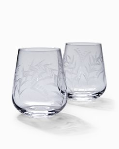 Etched Fronds Stemless Wine Glass Set - Set of 2