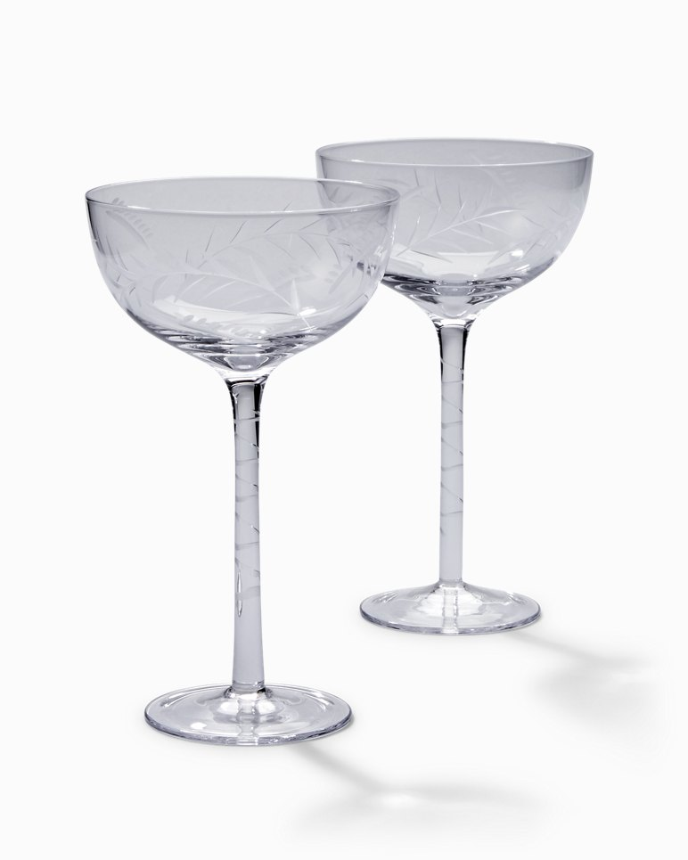 Etched Fronds Cocktail Glass Set   Set Of 2