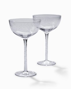 Etched Fronds Cocktail Glass Set - Set of 2