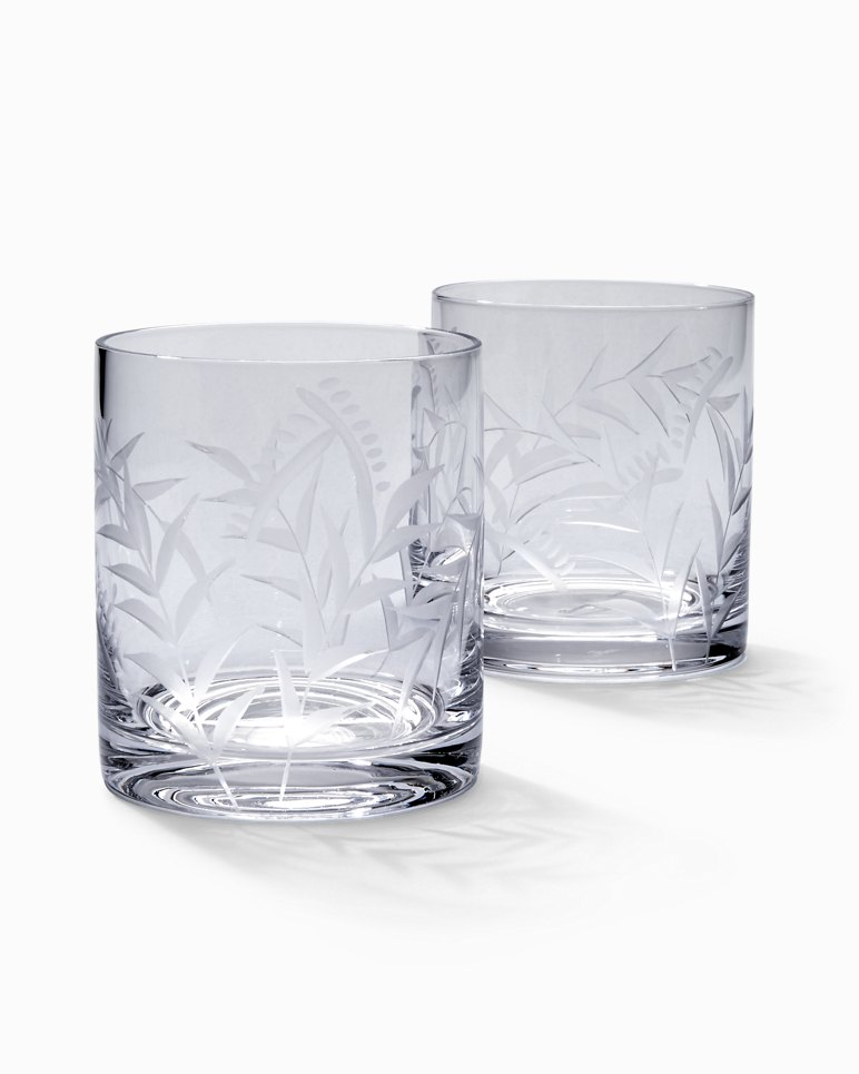Perfect Etched Fronds Double Old Fashioned Glass Set   Set Of 2