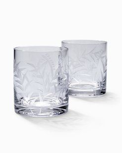 Etched Fronds Double Old Fashioned Glass Set - Set of 2