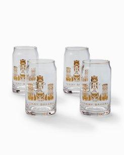 Tiki Bar Gold Foil Beer Glass Set - Set of 4