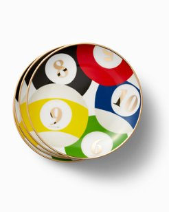 Porcelain Billiard Plate Set - Set of 4