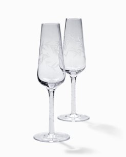 Etched Fronds Champagne Flute Set - Set of 2